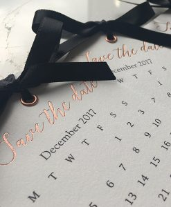 Bright White and Rose Gold Foil Save the Date tags